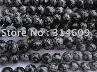 "Free Shipping Black Snowflake Jasper Bracelets Bead Round 12mm 16"""