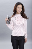 Free shipping!New spring  Korean Women collar long-sleeved shirt Slim waist flouncing