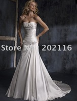Hot hit Custom-made Design Mermaid/Trumpet Wedding Dresses Sleeveless/Backless Satin Court Train Maggie Adorae No.YY138