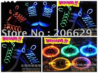 Wholesale -Light lace. Flash shoelaces. Luminous shoelaces. LED shoelace. Lateral fiber shoelaces 2 Pieces/Pair 100pcs/lot