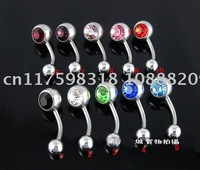 Double Gem Belly Ring, Press Fit Body Piercing Jewelry, Body Jewelry 100pcs/Lot Mixed Color Double Gem Belly Ring,Piercing
