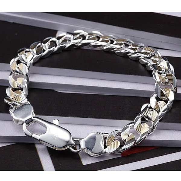Men's jewelry / 925 silver fashion bracelet about 8inch, free shipping,factory price, 925 silver bracelet jewelry MB2(China (Mainland))