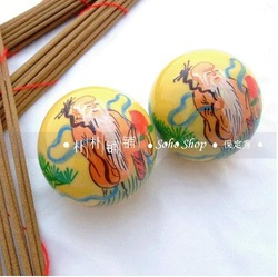 Handpainted 50mm baoding iron balls w/fadeless longevity god in yellow. Health care products. Stress reliever. Paper box.(China (Mainland))