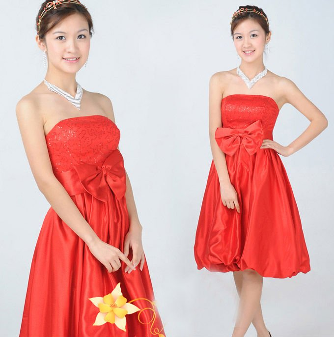 2011 new Korean red wedding dress bridesmaid dress wedding dress short paragraph B566(China (Mainland))