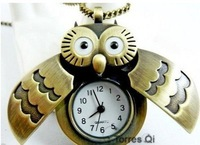 10pcs/lot New Lovely Owl Pendant Bronze Watch Necklace pocket watch New Free shipping