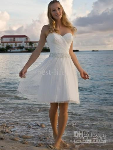 2011 new - Hot Sale Simple Sexy Strapless Short Beach Wedding Dress 10pcs(China (Mainland))