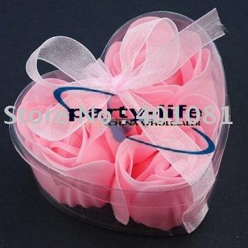 Pink 3pcs/set Handmade Wedding Favor Rose Bud Petals Soaps,gift sets for Valentine wedding,100sets/lot,free shipping