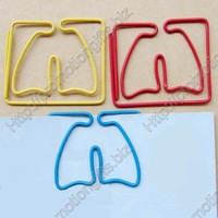 Guarantee 100% Genuine 1.2mm diameter vinyl wrapped wire Lung shaped paper clips+Fancy promotional gifts+Free custom shapes