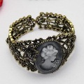 Free shipping Vintage cameo lady Bangle Bracelet open ended chic jewelry metal yst198