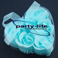 Blue 6pcs/set Handmade Wedding Favor Rose Bud Petals Soaps,gift sets for Valentine wedding,100sets/lot,free shipping