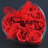 Red 9pcs/set Handmade Wedding Favor Rose Bud Petals Soaps,gift sets for Valentine wedding,100sets/lot,free shipping