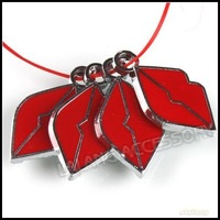 60x Alloy Charms Necklace Pendant Enamel Red Sexy Lip Bead Fit Cell Phone&Mp3 Strap 140207