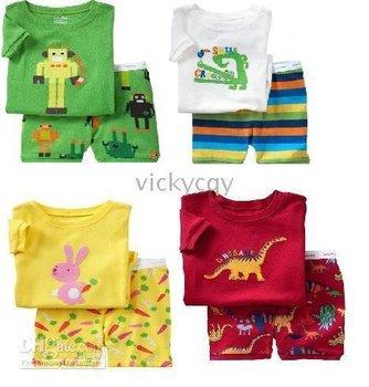 pyjamas 30sets/lot -LWQ312 - NEW boys girls Baby pajamas short sleeper pjs night suit