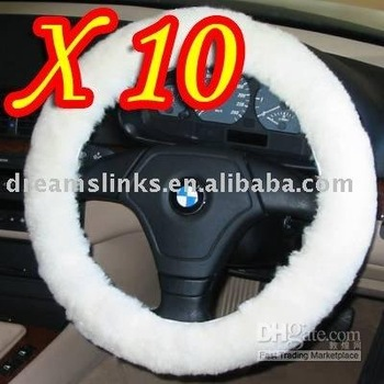 10pcs/lot 100% BRAND NEW Wool Vehicle Auto Car Steering Wheel Cover Free Shipping