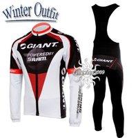 Free Shipping!! WINTER THERMAL CYCLING JERSEY+BIB PANTS BIKE SETS CLOTHES 2011 GIANT-WHITE&BLACK-SIZE:S-4XL