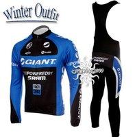 Free Shipping!! WINTER THERMAL CYCLING JERSEY+BIB PANTS BIKE SETS CLOTHES 2011 GIANT-BLUE&BLACK-SIZE:S-4XL
