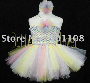 36pcs/lot 100% Handmade 2layers Cute Baby Princess Ballet Flulffy Tulle Tutu Dress Bodice Flower & Headbands Set Freeshipping