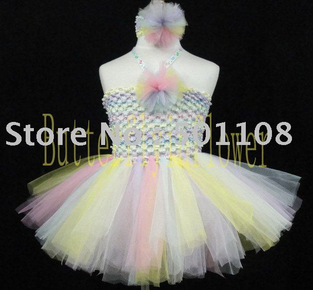 36pcs/lot 100% Handmade 2layers Cute Baby Princess Ballet Flulffy Tulle Tutu Dress Bodice Flower & Headbands Set Freeshipping(China (Mainland))