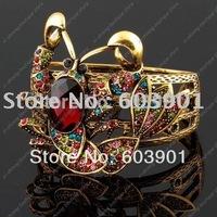 Gold lobster brown crystal rhinestone Bangle Bracelet