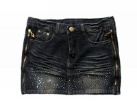 Free shipping 100% cotton mini denim Jean skirt for ladies COLOR black W27 W28 W29 W30 W31 WJS017