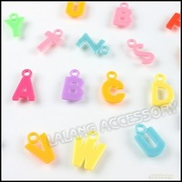 1200x Charms Letters Plastic Pendant Mixed Color Jewelry Making Fit European Necklace & Bracelet 140222