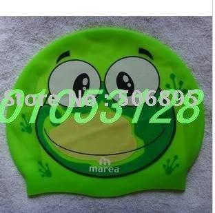 Free shipping Children swim cap silica gel swimming waterproof swim cap cartoon multiple color