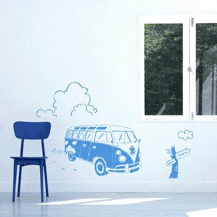 Free Shipping Wholesale  Wall stickers Home Garden Wall Decor  Vinyl Removable Art Mural Home decor,Bus,B-04