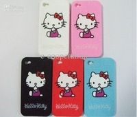 --Hot selling!!! 20pcs/lot Silicone Cover Case Hello kittySilicone Case For Apple 4G