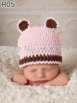 60pcs/lot 0-6Month newborn cap crochet baby hat children cotton hat Stripes Beanie with ear ANIMAL HAT crochet cap frog hat