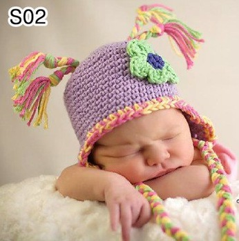30pcs/lot 0-6Month newborn cap crochet baby hat children cotton hat Stripes Beanie with ear ANIMAL HAT crochet cap frog hat