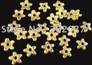 FREE SHIPPING 1500pcs Antiqued gold flat star bead caps A1236G