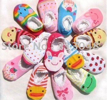 Free shipping +180pairs Cute! BUSHA Nonskid baby socks - Nonslip Toddler Footgear Baby Shoe Sock baby booties sox