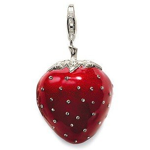 Hot sell free shipping 925 silver charms floating charms cute strawberry pendants best gift fashion jewelry