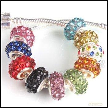 New Wholesale Assorted Iron Silver Plated Rhinestone Big Hole Charms Bead 15pcs/lot Fit European Bracelet DIY 151178