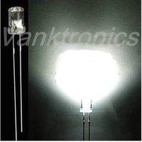 1000pcs/Lot New 5mm Flat Top White LED Wide Angle light 20000 MCD
