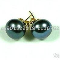 Real south sea AAA 10-11 mm black pearl earring 14K