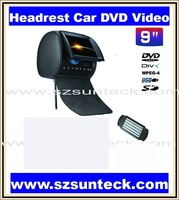 free shipping 9 inch headrest car dvd with zipper cover+32bit game+IR+USB+SD+FM