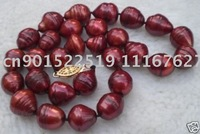 huge 13-15mm red south sea natural pearl necklace14K