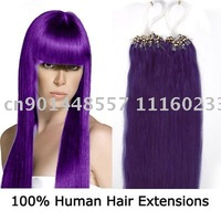 "18""REMY Loop Micro Ring Human Hair Extensions 100s #Lila,0.5g/s"