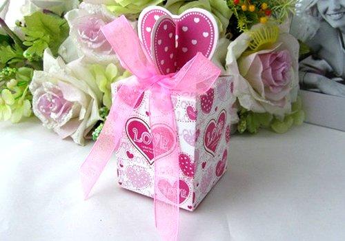 Wholesale - 50pcs Pink Heart Love Wedding Paper Gift Jewelry Candy Box(China (Mainland))