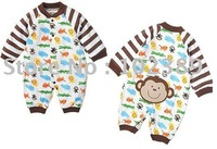 Cotton Romper Bodysuit baby long sleeve button climb animal prints full service TT-513 free shipping