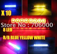 10Pcs/lot New 8 LED Strobe Flashing Deck high Power Warning light 1W RED/BLUE RED yellow White