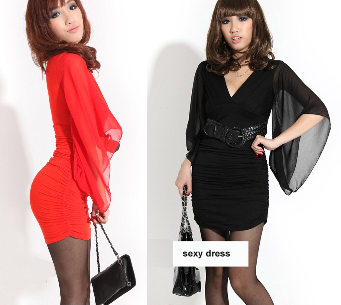 Free Shipping-Retail/Wholesale Fitted Night Club Dress Sexy Dress Party Dress Slinky Mini Dress bat-wing chiffon sleeve(MOQ:1pc)(China (Mainland))