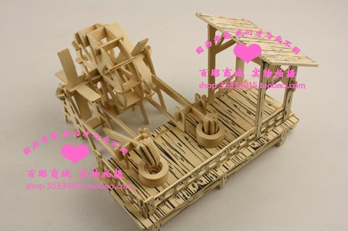 hot sell Educational Toys Simulation model 3D Wooden Puzzle House model waterwheel mill turn kit New Popular Toys-free shipping(China (Mainland))
