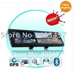 free shipping 4.3 Inch Bluetooth Rearview Mirror with Built-in GPS with AV IN 4GB load 3D MAP(China (Mainland))