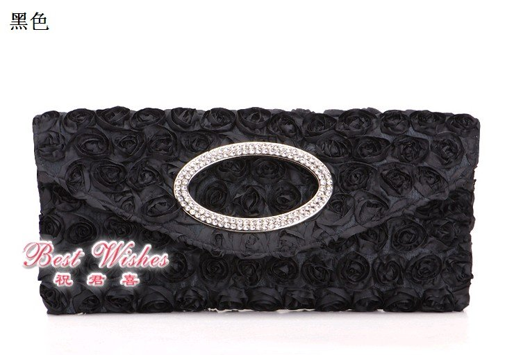 tee6883 satin rose evening bags with crystal stones accept free shipping(China (Mainland))