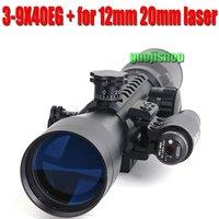 brand Rifle scope Illuminated 3-9X40 EG+Weaver Rail+red laser