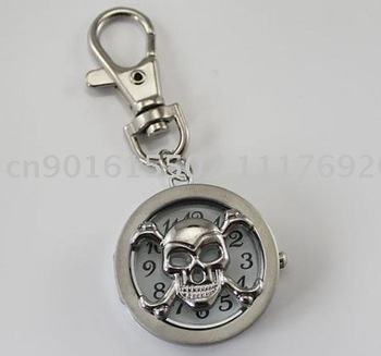 new Skull Head Key Chain Pocket Watch Pendant free shipping  wholesale / Retail