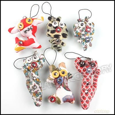 18x Cute Mobile Phone/Handbag/KeyChain Strap Pendant Mixed Color Cloth Animal Button Doll 130253