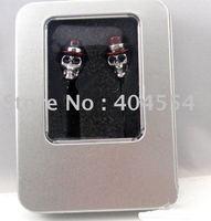 Free fedex shipping 10pcs 3.5mm Professional Gentleman Metal Skull Earphone Headphone Best Gift